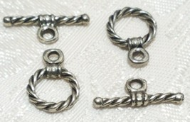 2 Sets Twisted Pattern Fine Pewter Toggle Set - 9x12.5x14x5x1mm image 1
