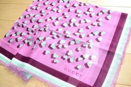 "Gucci Cotton Scarf Pink Heart 55"" x 28"" Children collection 140 cm shawl NIB - $196.02"