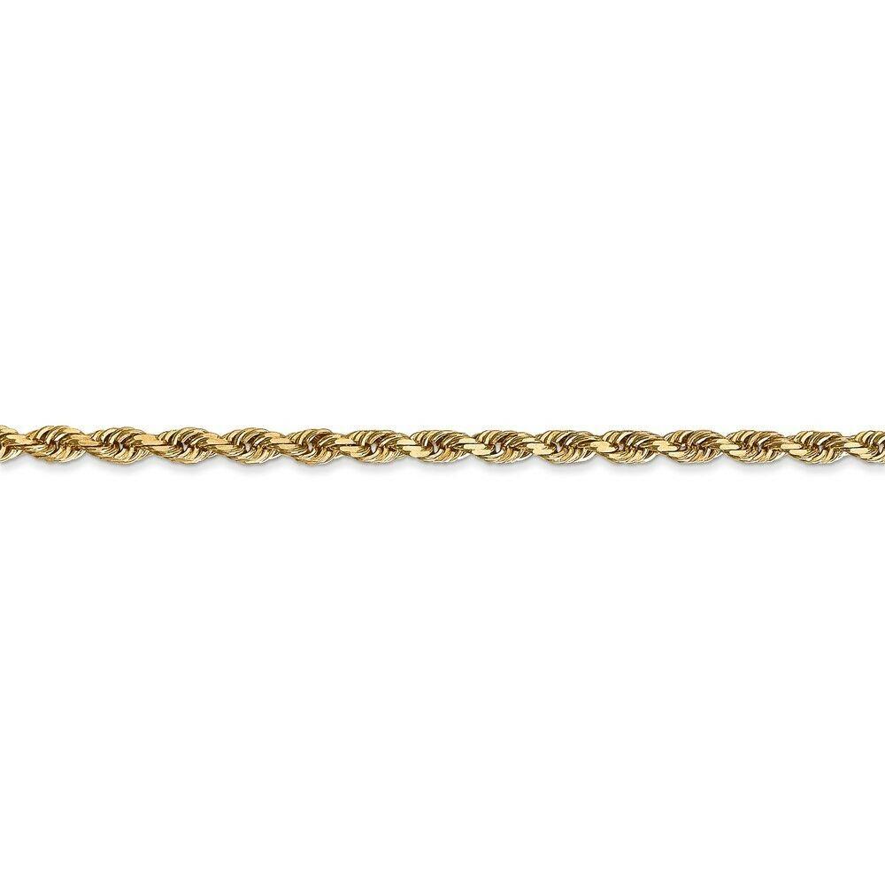 14k Yellow Gold 3.0mm Diamond-Cut Quadruple Rope Chain Bracelet / Anklet 9 Inch image 2
