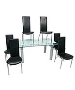 KAISER NEWMAN Post Modern Art Deco Dining Set Table Six Black Leather Ch... - $4,353.22