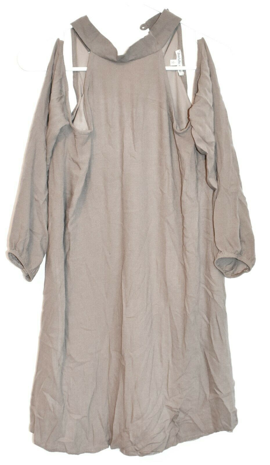 Charlotte Russe Women's Taupe Gray Cold Shoulder Long Sleeve Mini Dress Size S