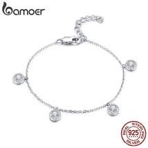 BAMOER 925 Sterling Silver Round Circle Dazzling CZ Crystal Women Bracel... - $21.94