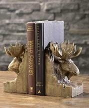 "6.9"" Wood Carved Moose Head Design Bookends Designed Polystone"