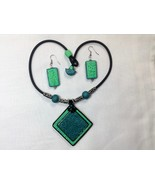 Set Handmade Polymer Clay Large Square Pendant Teal Green Black - $45.00
