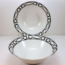 "Oneida Facade Coupe Soup Cereal Bowls Set of 2 Black and White Geometric 7"" - $15.00"