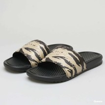 Nike Flip Flops Benassi JDI Camo Khaki Black Slides Sandals Adults Green... - $44.94