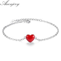 Anenjery Lucky double-sided Red Heart 925 Sterling Silver Bracelet For W... - $14.76