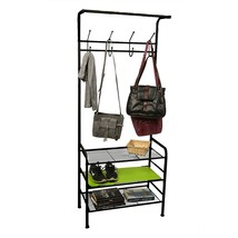 Mind Reader Metal Coat, Shoe Rack, Purses, Scarf, Shelving Organizer, Black - $69.46 CAD