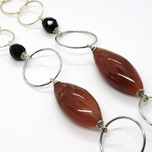 Necklace Silver 925, Jasper Oval, Length 80 cm, Circles Large, Pendant image 4