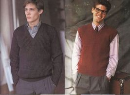 Vtg Vogue Mens Knits 25 Designs Tennis Sailing Ski Cricket Sweaters Patterns image 7