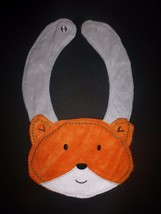 NEW Carter's Orange Fox Baby Boys Terry Cloth Teething Drool Bib image 1