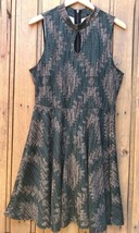 Forever 21 Plus Sleeveless Dress Keyhole Teal Black Diamond Print Womens... - $19.79