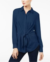 Inc International Concepts Twilight Mixed-Media Tie-Front Button-Down Sh... - $54.99