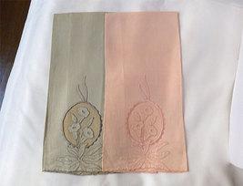 Pair Vintage Madeira Embroidered Linen Pink BlueTowels Unused Tags - $31.00