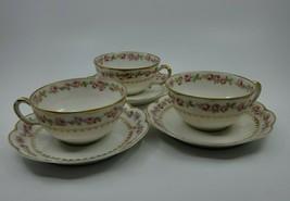 3 SETS Vintage Haviland Limoges France Rose Gold Trim Tea Cup & Saucer Set EUC - $148.99
