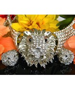 Lion Face Necklace Earrings Rhinestone Set Demi Parure Leo Figural - £121.57 GBP