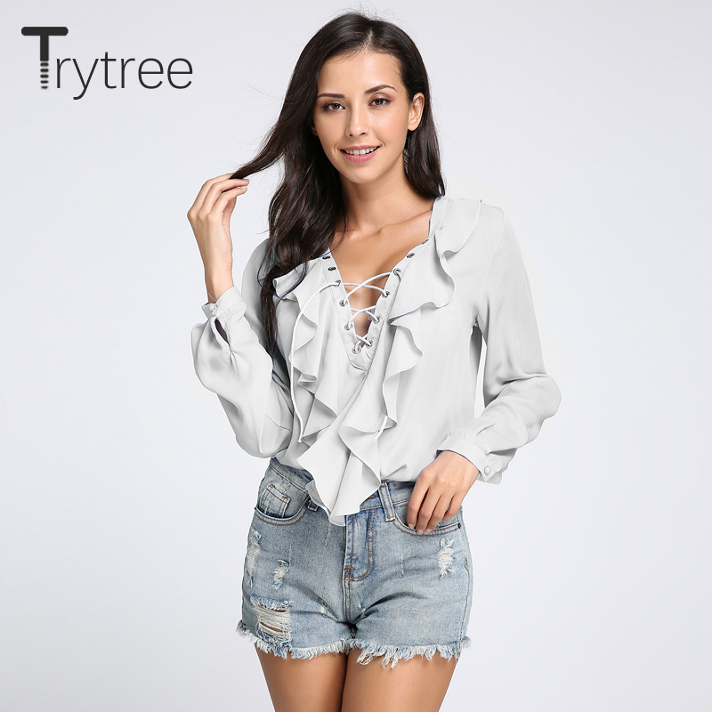 2018 fashion spring summer women chiffon blouse sexy lace up v neck ruffles long sleeve black
