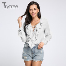 2018 Fashion Spring Summer Women Chiffon Blouse Sexy Lace Up V Neck Ruff... - $41.40