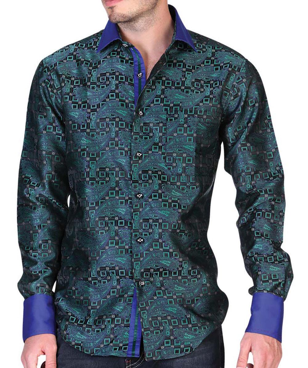 Western Shirt Long Sleeve El General Jacquard Green