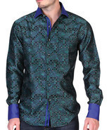 Western Shirt Long Sleeve El General Jacquard Green - $29.99