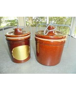 Set of 2 Brown Crocks with Bale 2 Sizes - $15.84