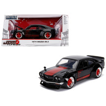 1974 Mazda RX-3 Black with Red Stripe JDM Tuners 1/24 Diecast Model Car ... - $30.60