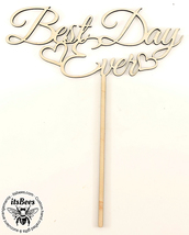 "Best Day Ever - 9"" Wood Cake Topper Custom Color Options & Sizes - FREE ... - $23.00"