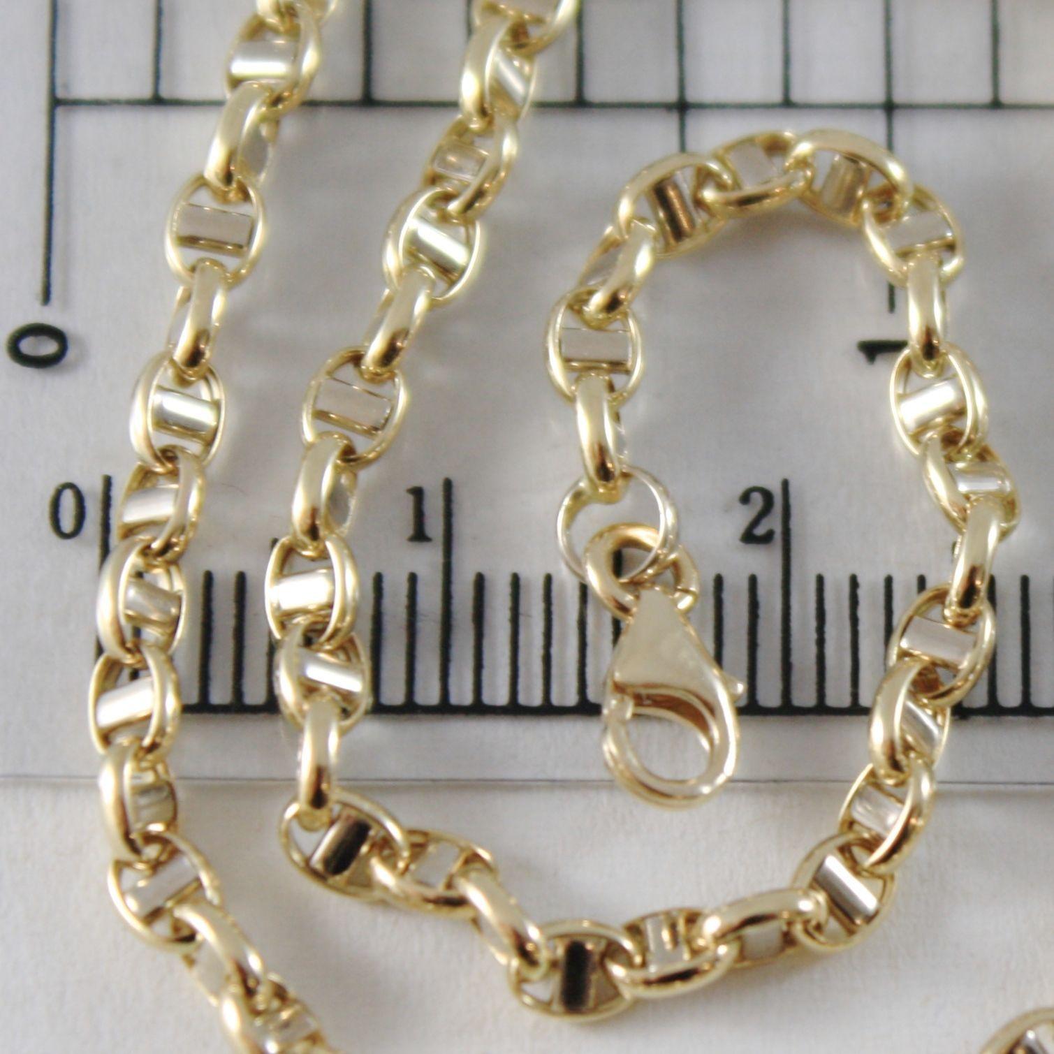 BRACELET YELLOW GOLD 0,5 WHITE 750 18K,19 CM,3 MM,MARINARA CROSSPIECE,ITALY