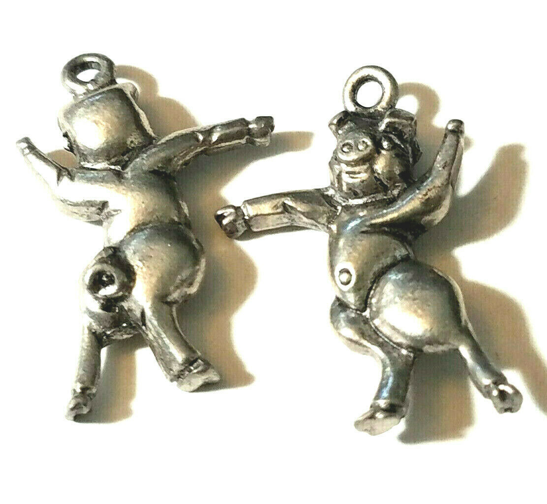 DANCING PIG FINE PEWTER PENDANT CHARM