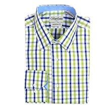 Men's Checkered Plaid Dress Shirt - Green, Small (14-14.5) Neck 32/33 Sleeve