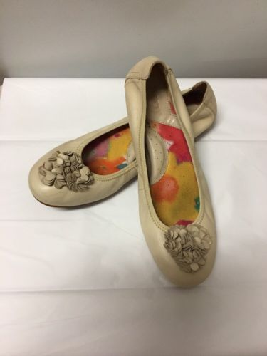 Born Womens Shoes Size 8 Off White Solid Leather Ballet Flats