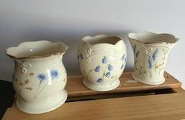 3 Lenox Floral Votives Candle Holder Porcelain Gold Trim Wild Flowers Pa... - $18.04
