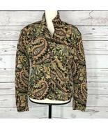 Ubu Womens Small Jacket Crinkle Puffy Full-Zip Long Sleeve Paisley Gold ... - $17.79