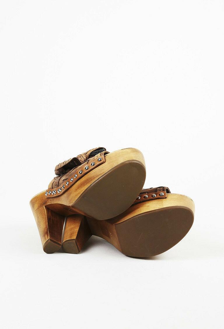 Miu Miu Brown Leather Clog Sandals SZ 37.5