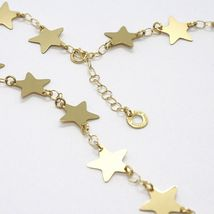 18K YELLOW GOLD NECKLACE, FLAT STARS, STAR, 16 INCHES, MADE IN ITALY image 2