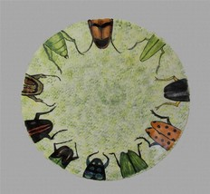 "HUGE Bugs Ladybugs Sponged 15-3/8"" Heavy Thick Handpainted Platter Dtd 8/97 - $38.99"