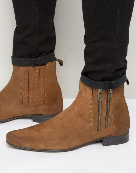 Brown Tone Magnificiant Suede Leather Mens Handcrafted High Ankle Zipper Boots