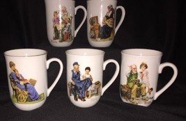 Lot Set Of 5 Norman Rockwell Museum Collector Mugs - $9.50