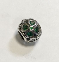 Pandora Sterling Silver Green Lucky Clover Charm Dark Green Cz (Ajb) *P18 - $34.50