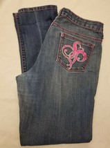 Ladies Size 13 SOUTHPOLE Jean Pants Pink Trim Embroidered Pockets Straight - $13.57