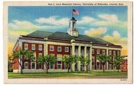 Lincoln Nebraska Postcard Don Love Memorial Library University Curt Teich 1943 - $2.84