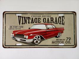 vintage car - Tin Sign - Metal Plaque, Vintage Metal Wall Decor, Bar Pub Cafe - $15.67