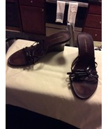 Banana Republic Size 7 Brown Leather Wedge Sandal Strappy Made in Italy - $19.95