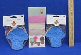 Ice Cream Magnetic Note Pad By Paper Bliss & 8 Ice Cream Cone Coasters L... - $16.82