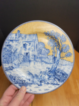 """American Atelier English Toile Blue Salad Plate """"B"""" Blue Yellow Floral Scenes - $4.94"""