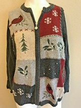 Ladies Large Sweater Full Zip Cardinals Snowflakes Winter Christmas Crof... - $17.81