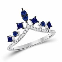 14kt White Gold Round Lab-Created Blue Sapphire Chevron Fashion Ring 1.0... - €330,04 EUR