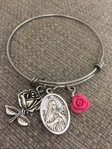 New Stainless St. Therese Little Flower Bangle Charm Bracelet  - $16.99