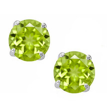 925 Sterling Silver Light Green Peridot Round Shape w/ Screw Back Stud E... - $12.60 - $32.80