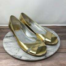 Cole Haan Air Metallic Gold Strappy Cork Wedge Heels Womens Size 9 - $29.95